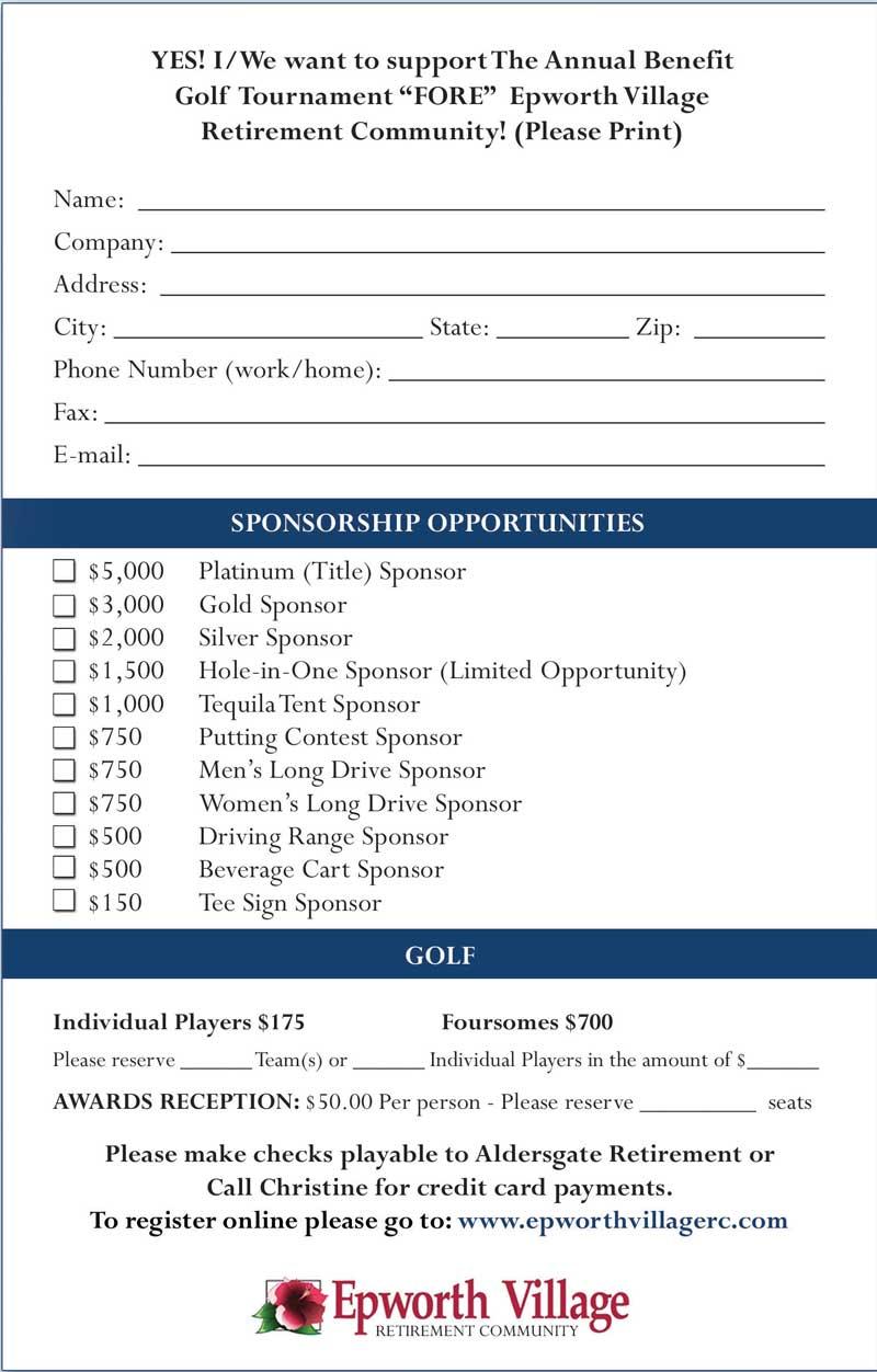 golf sponsor form